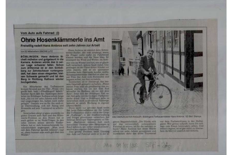 BB wollte mal Radlerstadt werden, 1988 im Mai